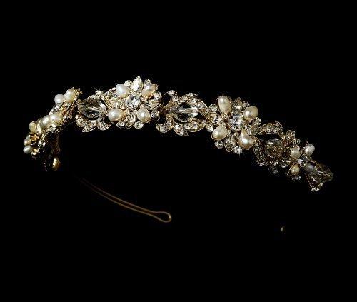 Gold-Swarovski-Crystal-Freshwater-Pearl-Wedding-Bridal-Headband-by-Fairytale-Bridal-Tiara