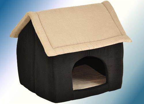 Artikelbild: nanook Hunde-Höhle Katzen-Höhle CHALET PICO, für kleine Hunde, Katzen und Kleintiere, Größe M (60 x 56 cm), Wildleder-Optik, schwarz beige