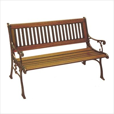 DC America SL601CO-BRMP Carolina Park Bench, Cast Iron Frame and Hardwood Slats, Rust Resistant Bronze Finish