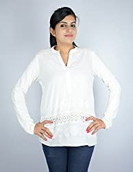Kashana Hosiery Pure Cotton Off White Embroidered Lace Full Sleeve V-Neck Party Girls Ladies Women Blouse Top