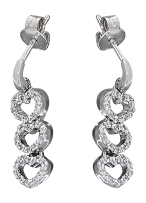 Cubic Zirconia Earrings Heart 585 Weiss Hobra-Gold with Gold Stud Heart - Silver Stud Earring