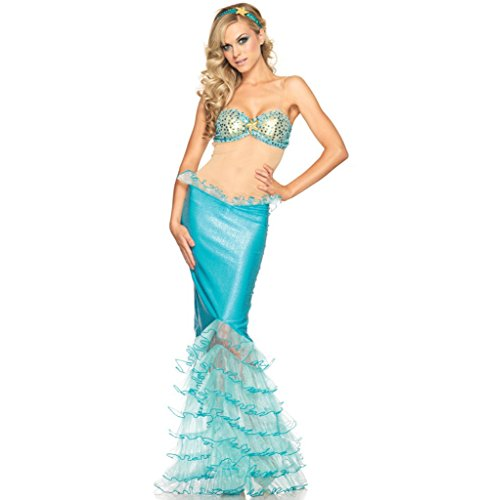 Omine Women's Halloween Wavy Patterned Long Skirt Little Mermaid Cosplay Costume