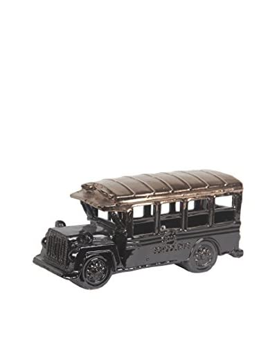 Ceramic Vintage School Bus, Copper/ Black