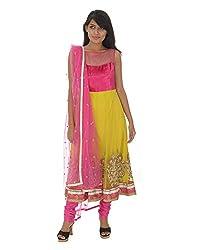 Gurpreet Kaur Women Brocade & Georgette Dress (D011, Pink & Lemon Yellow, 40)