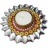 Bold N Elegant Silver Leaf Sunflower Handcrafted Designer Diya Candle Holder With Complimentory Tea Light Candles