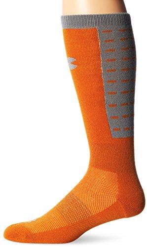 Under Armour Men's ColdGear Dash Crew Socks , Hunter Orange/Steel Grey, Large