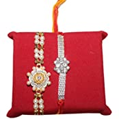 Handicrunch Rakhi Set Of 2 Awesome Pair Of Diamond Rakhi Set With