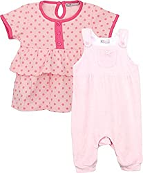 EIMOIE Baby's Dress and Dungaree Combo