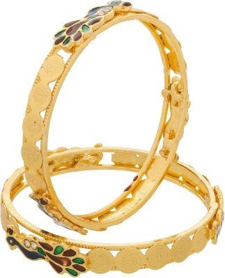 Zeneme Peacock Design Temple Coin Gold Plated Bangles Jewellery Bangle For Women And Girls Set Of 2