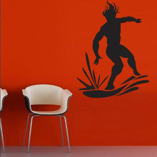 Wall Decal Decor Decals Sticker Surfing Wave Ocean Water Surfer Man Board (M239) front-740617