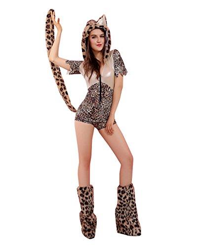 Candygirl Womens Sexy Leopard Animal Costume Set with Monster Hood (3 Pieces)