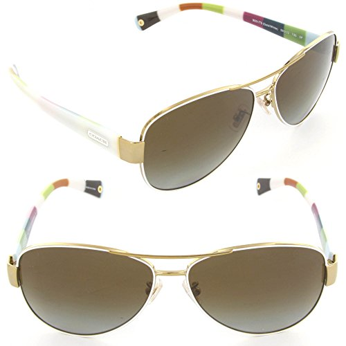 New Coach Kristina Hc 7003 9051/T5 Gold/ White Polarized Sunglasses 59Mm
