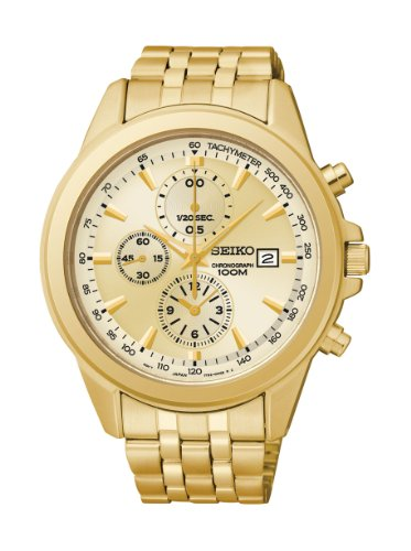 Seiko SNDF08 Men's  Gold-Tone Chronograph Stainless Steel Watch