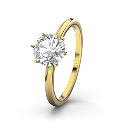 21DIAMONDS Alhambra Women's Ring Engagement Ring Round Brilliant Cut White Topaz 9ct Yellow Gold Engagement Ring