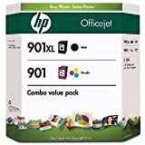 HP 901XL Black and 901 Color Inkjet Cartridges (1 XL Black, 1 Cyan, 1 Magenta, 1 Yellow) in Retail Packaging