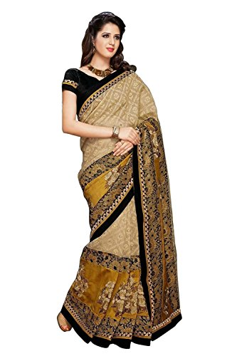 Trendz Women's Cotton Silk Saree(TZ_Golden_Brown)