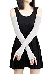 Women Stretchy Long Sleeve Fingerless Gloves (Grey)