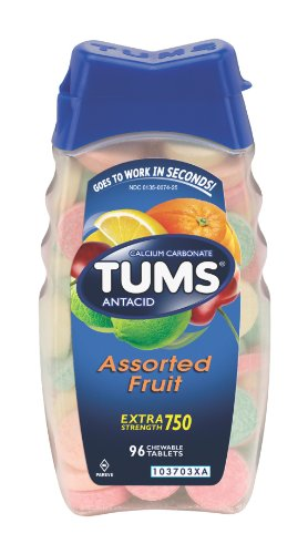 Tums Antacid, Extra Strength, Assorted Fruit, Tablets 96 Tablets