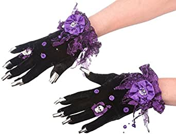 Halloween Costume Accessory Fancy Witch Gloves with Nails