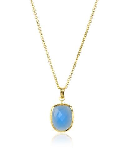 Jardin Blue Chalcedony Shield Pendant Necklace