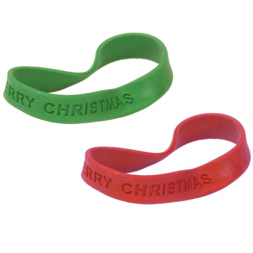 "Dozen Assorted Color (Red & Green) ""Merry Christmas"" Embossed Stretchy Bracelets"
