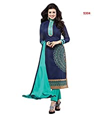 Blissta Blue Chanderi Embroidered Straight Salwar Suit Dress Material