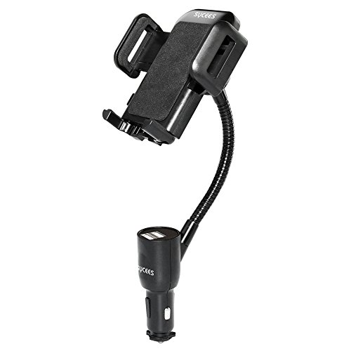3-in-1 Car Holder + Car Charger + Car Voltmeter, SYCEES Car Cell Phone Mount w/ 3.1A Dual USB Ports Charger and Voltage Meter for iPhone 6/6s Plus, 5s/SE, Samsung Galaxy S7/S6 Edge, S5, Note 5 (Mobile Charger For Iphone 5 compare prices)