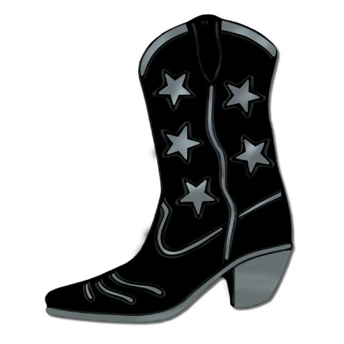 Foil Cowboy Boot Silhouette (black) Party Accessory  (1 count)