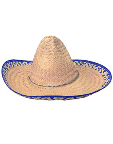 "19"" Adult Mexican Costume Sombrero Hat With Blue Trim"