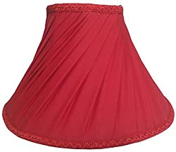 RDC 10 Round Slanting Pleated Red with Lace Border Lamp Shade for Table Lamp