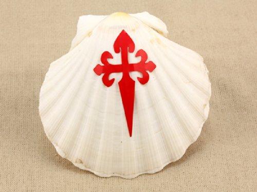 Lot de 6 coquillage coquille Saint Jacques de Compostelle avec croix croisade