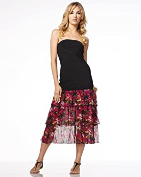 bebe.com : Petite Fleur Tiered Strapless Dress