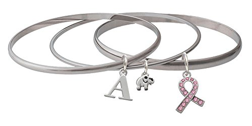 Small Pink Crystal Ribbon Initial - B - Lucky Elephant Mixed Bangle Bracelet Set