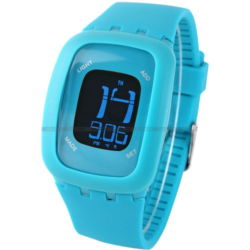 AMPM24 LCD Touch Screen Alarm Date Day Backlight Lady Mens Blue Sport Silicone Watch