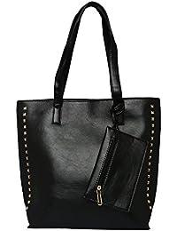 ToniQ Black Hand Bag With Detachable Wristlet For Girls,Women(Black)