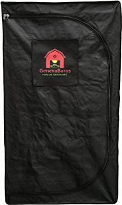 "Geneva Barns GB15DW Reflective Hydroponic Grow Tent with D-Zipper, 36"" Wide x 20"" Deep x 63"" High"