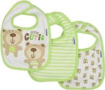 Gerber Unisex-Baby  3 Pack Terry Dribbler Bib Bear, Green, One Size