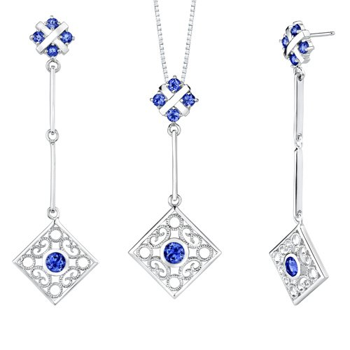 Revoni Round Shape Sapphire Pendant Earrings Set in Sterling Silver