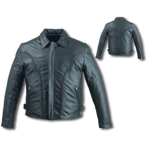 Mens Black Leather Motorcycle Jacket Sz 3XL Sports