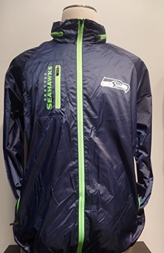 Mens-NFL-Seattle-Seahawks-Full-zip-Navy-Wind-Breaker-With-Detachable-Hood