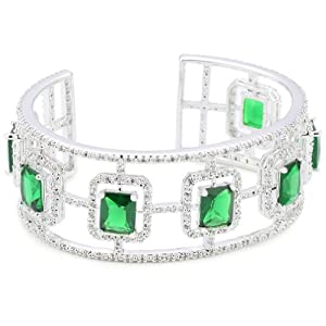 "CZ by Kenneth Jay Lane ""Trend CZ"" Emerald Shape And Pave Cuff"