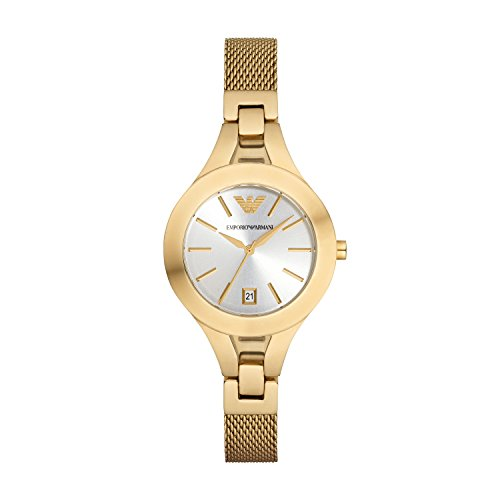 Emporio Armani Reloj de cuarzo para mujer con plata esfera analógica pantalla y oro pulsera de acero inoxidable AR7399