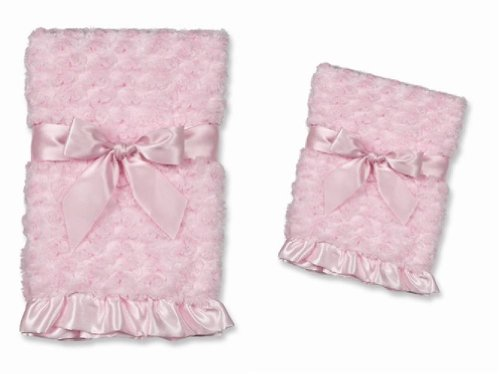 Bearington Baby Pink Swirly Soft Stroller and Security Blanket Set