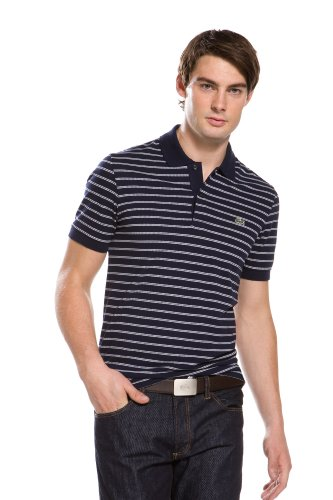 Short Sleeve Double Stripe Pique Polo