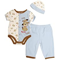 Petite Bears Boys 0/3M-6/9M Puppy Onesie Set (6/9M)
