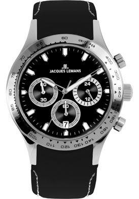 Jacques Lemans Classic Unisex-Armbanduhr Capri Chronograph Leder 1-1618G