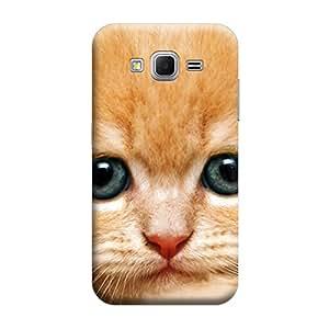 MakemyCase Samsung Core Prime G360 Lonely Cat 3D Matte Finishing Printed Designer Hard Back Case Cover (Gold)