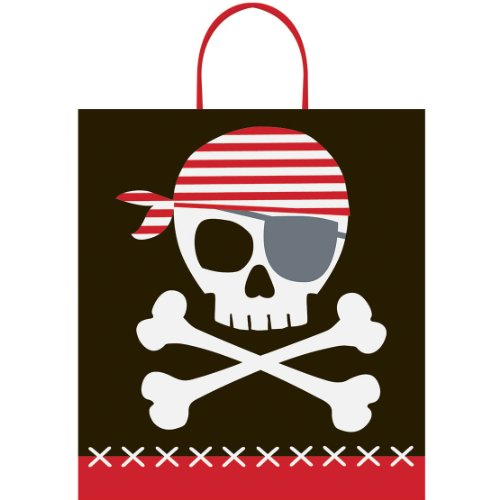 "Halloween Candy Bag ~ Pirate Theme 16""x14"" ~Plastic Candy Loot Bag with handle - 1"