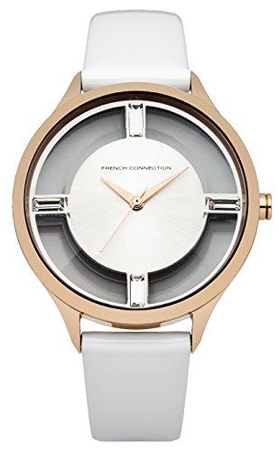 French Connection FC1233W - Reloj para mujeres, correa de cuero color blanco