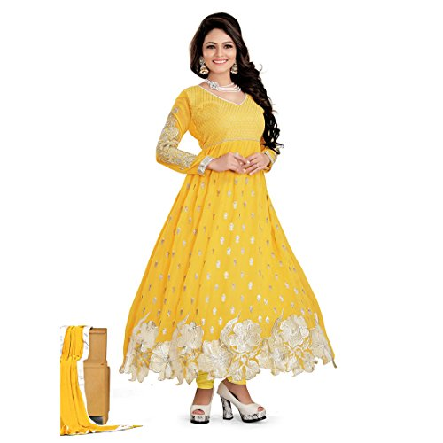 Fabfirki Yellow Georgette Salwar Suit